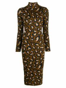 Gcds leopard print midi dress - Brown