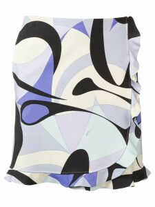 Emilio Pucci Alex Print Ruffle Trim Skirt - Blue