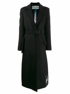 Off-White belted long coat - Black
