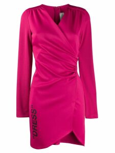 Off-White ribbed sleeve ruched dress - Pink