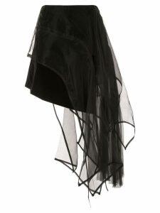 Shanshan Ruan organza-panelled skirt - Black