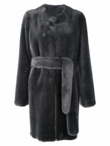 Vera Wang faux fur belted coat - Grey