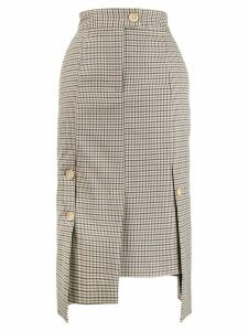 Eudon Choi checked asymmetric pencil skirt - NEUTRALS
