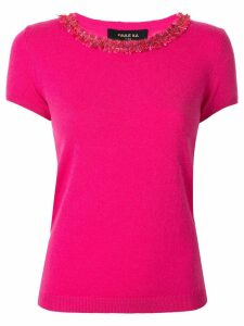 Paule Ka fringed neck knitted top - Pink