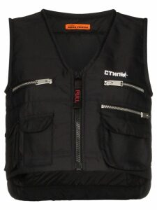 Heron Preston multi-pocket zip-up vest - Black