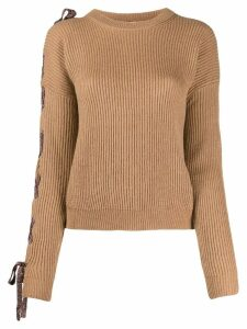 Nude lace-up metallic detail jumper - Brown