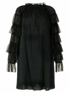Alberta Ferretti floral lace detail blouse - Black