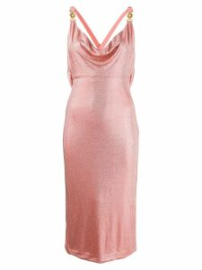 Versace crystal-embellished fitted halterneck dress - Pink