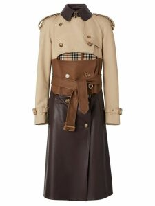 Burberry Deconstructed Cotton and Lambskin Trench Coat - NEUTRALS