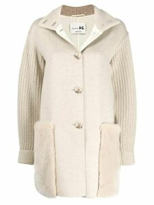 Manzoni 24 cable knit sleeve coat - Neutrals