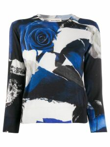 Alexander McQueen Cropped rose-print sweater - Black