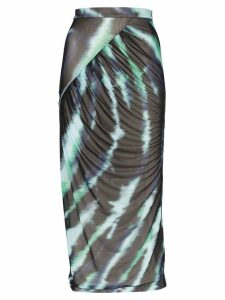 House of Holland wrap-around tie-dye midi skirt - Green