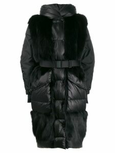 Moncler Grenoble fur panels oversized padded coat - Black