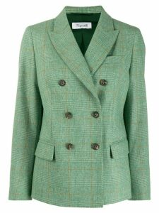 Brag-wette checked double breasted blazer - Green