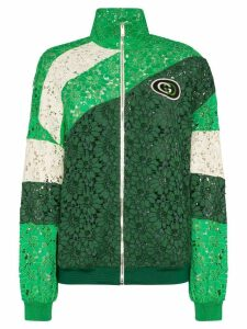 Gucci panelled lace logo patch track jacket - Green