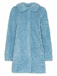 HVN wide collar textured coat - Blue