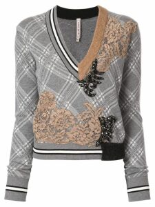 Antonio Marras lace-panelled checked jumper - Grey