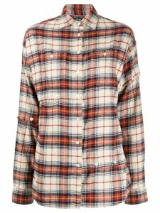 R13 asymmetric style plaid shirt - Orange