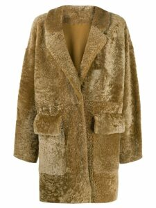 Drome textured shearling coat - Brown