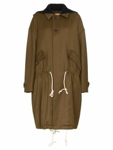 Plan C drawstring waist wool parka coat - Green