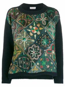 Pierre-Louis Mascia flower embroidered jumper - Blue
