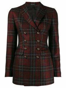 Tagliatore double-breasted plaid print blazer - Red