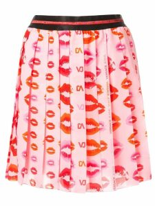 Versace Jeans lips print pleated skirt - Pink