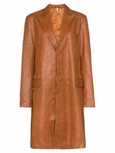 Sunflower single-breasted mid-length coat - Brown