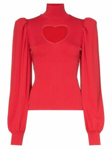 MSGM heart cutout knitted jumper - Red