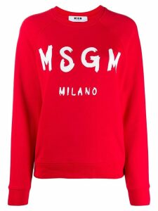 MSGM logo ribbed crew neck sweater - Red