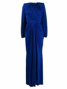 Alexander McQueen gathered front evening dress - Blue