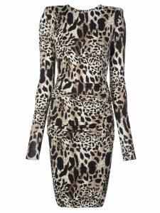 Alexandre Vauthier lynx print dress - Brown