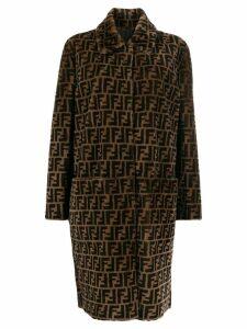 Fendi Zucca shearling coat - Brown
