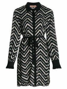 Twin-Set floral chevron shirt dress - Black