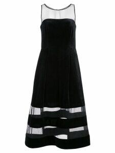 Aidan Mattox sheer stripes dress - Black