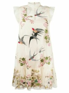 Red Valentino RED(V) floral and bird mini dress - NEUTRALS