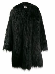 Mm6 Maison Margiela furry oversized coat - Black