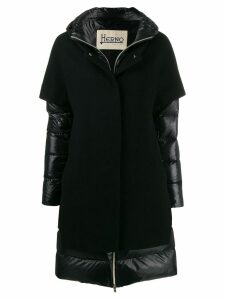Herno contrast panel padded coat - Black