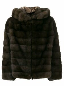 Liska Rita zip-up hooded coat - Brown