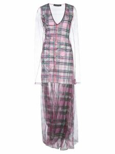 Y/Project check print layered dress - Pink