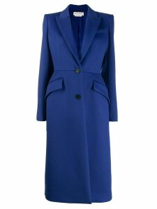 ALEXANDER MCQUEEN single breasted coat - Blue