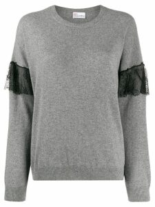 Red Valentino ruffle lace insert jumper - Grey