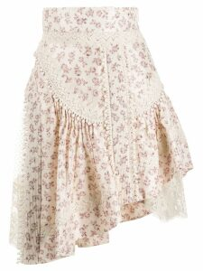 Zimmermann floral asymmetric skirt - NEUTRALS