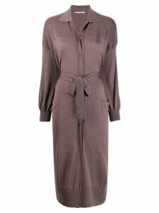 Agnona belted cardigan style dress - Purple