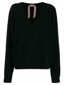Nº21 deep V-neck knitted top - Black