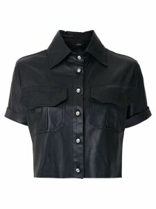 Andrea Bogosian leather cropped shirt - Black