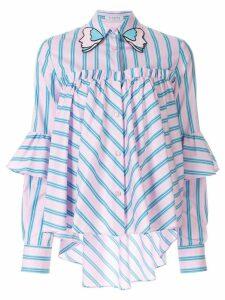 Vivetta striped ruffle-panel shirt - Pink