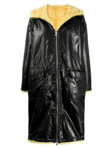 Stand contrast hooded coat - Black