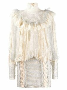 Zimmermann lace ruffled mini dress - Neutrals