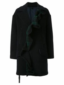 Unravel Project ruffled single-breasted coat - Black